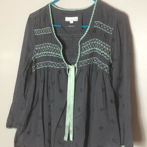 Odd Molly blouse, size 2(med 8/10) Gray and Mint
